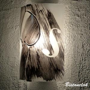 Applique demi cylindre decorative noir et blanc motif violon creation artisanale francaise par bistanclak 2