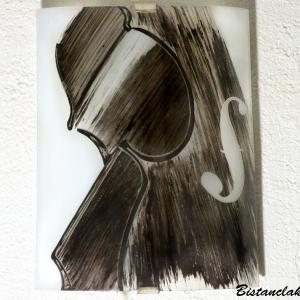 Applique demi cylindre decorative noir et blanc motif violon creation artisanale francaise par bistanclak 3
