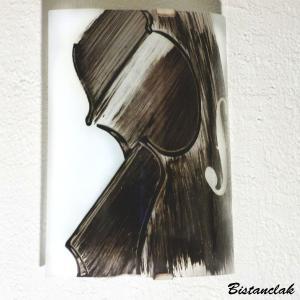 Applique demi cylindre decorative noir et blanc motif violon creation artisanale francaise par bistanclak 4