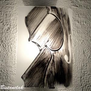 Applique demi cylindre decorative noir et blanc motif violon creation artisanale francaise par bistanclak 5