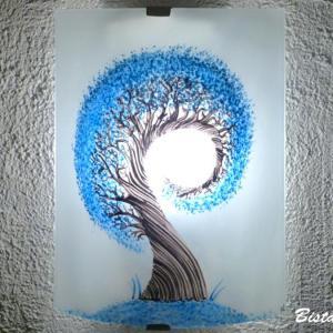 Applique demi cylindre eclairante et decorative motif l arbre spiralement bleu cyan 5
