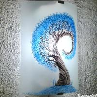 Applique demi cylindre eclairante et decorative motif l arbre spiralement bleu cyan 8