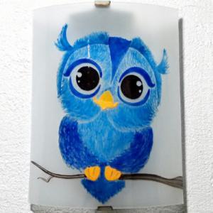 Applique demi cylindre fantaisie motif petit hibou bleu
