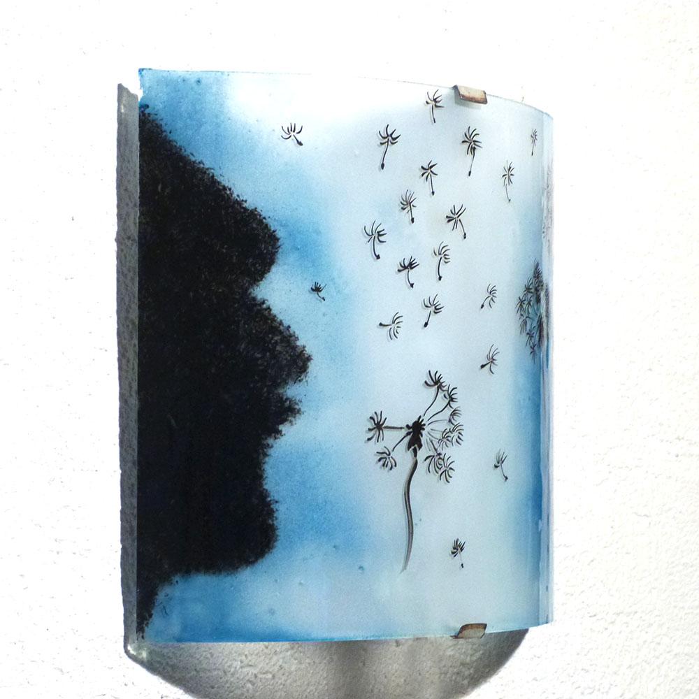 Applique demi cylindre l envol du pissenlit bleu cyan