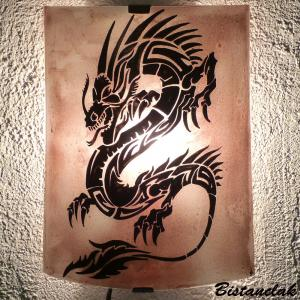 Lampe applique de couleur brune motif dragon