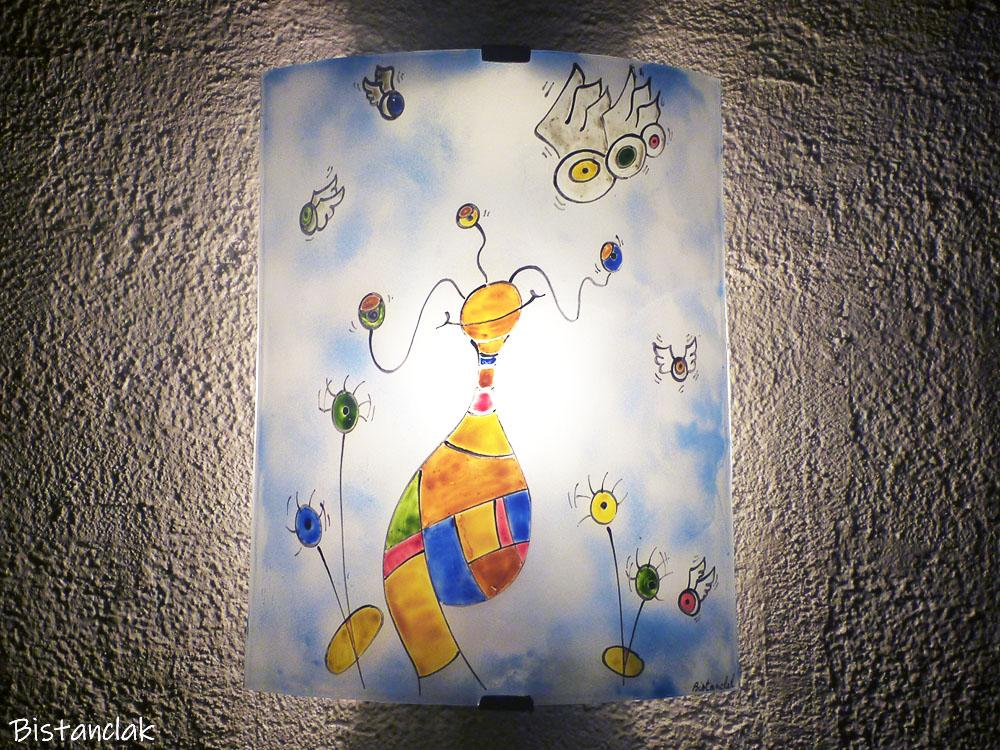 Applique en verre multicolore motif fantaisie et surrealiste