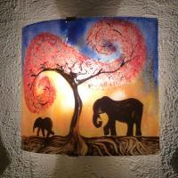 Applique jaune orange et bleu motif elephants
