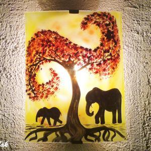 Applique jaune orange motif elephants 1