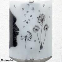 Applique luminaire artisanal blanc motif noir souffle du pissenlit vendue en ligne sur notre site