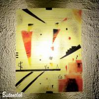 Applique luminaire artisanal jaune et rouge motif geometrique inspiration kandinsky vendue en ligne