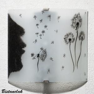 Applique luminaire blanc et noir motif l envol du pissenlit un luminaire artisanal vendu en ligne sur notre site