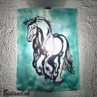 Applique artisanale vert turquoise motif cheval