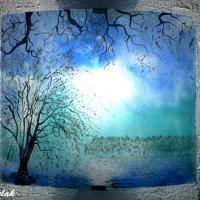 Applique bleu et turquoise motif paysage de cerisiers blancs vendue en ligne