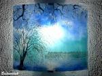 Applique bleu et turquoise motif paysage d arbres au feuillage blanc