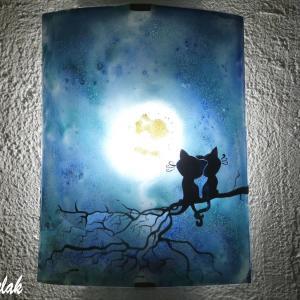 Applique luminaire decoratif au dessin de deux chats styslies sous la lune vendue en ligne sur notre site