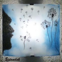 applique en verre blanche et bleu délavé au motif de pissenlits