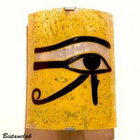 Applique luminaire jaune motif oeil d horus