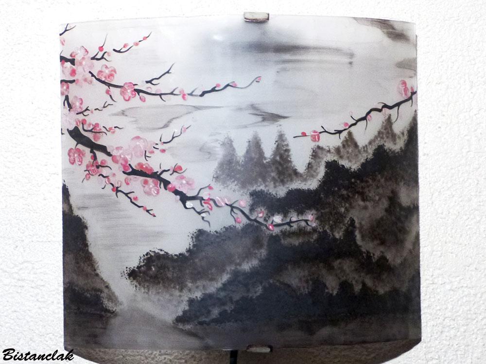 Applique luminaire motif paysage de montagne et fleurs de cerisiers du japon 1