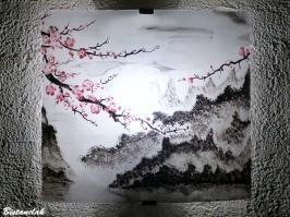 Applique luminaire motif paysage de montagne et fleurs de cerisiers du japon