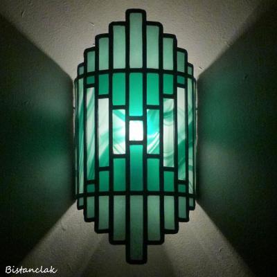 Applique vitrail Art Déco couleur verte