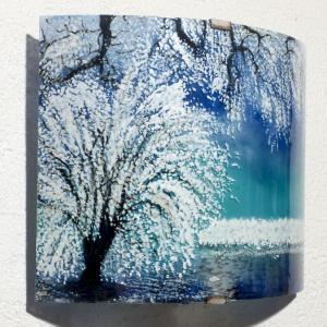 Applique motif paysage arbre blanc