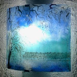 Applique motif paysage arbre blanc1