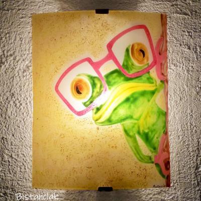applique colorée motif grenouille à lunette