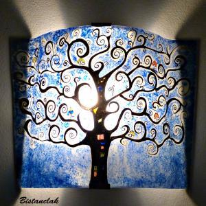 lampe applique décorative bleu motif arbre de vie