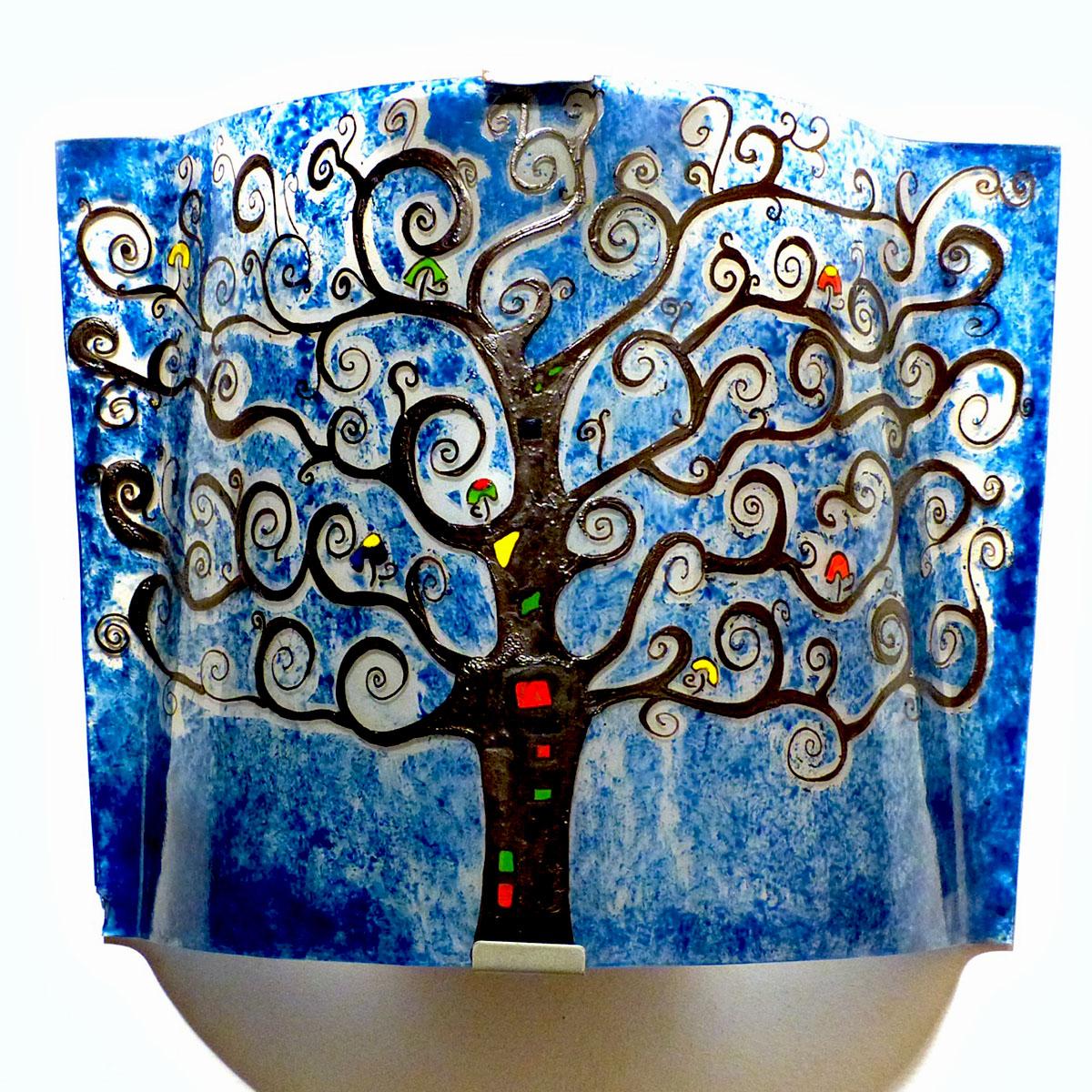 applique luminaire décoratif bleu motif arbre de vie