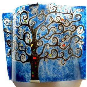 Applique luminaire artisanal bleu motif arbre de vie