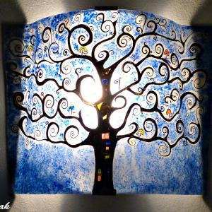 Applique d'ambiance bleu cobalt motif arbre de vie