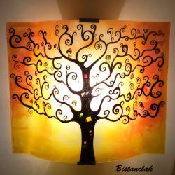 Applique motif arbre de vie jaune orangé