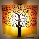 Applique artisanale motif arbre de vie jaune et orange