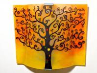 Applique murale artisanale motif arbre de vie jaune et orange