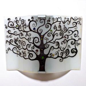 Applique luminaire d'ambiance blanc et noir motif arbre de vie, création artisanale française
