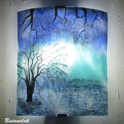 Applique turquoise et bleu motif paysage de cerisiers blancs