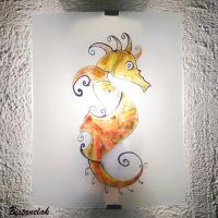 Applique murale artisanale motif hippocampe colore jaune orange