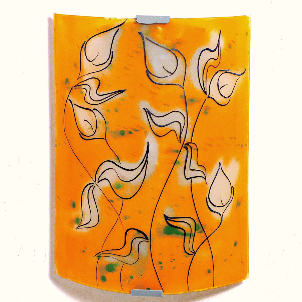 Applique murale artisanale orange motif la danse des arums 2