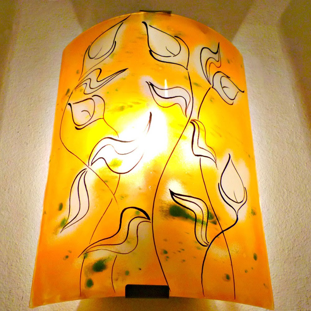Applique murale artisanale orange motif la danse des arums 3
