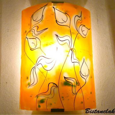 applique murale orange et verte La danse des arums