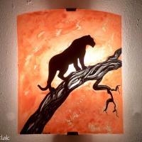 Applique murale artisanale orange motif panthere noire