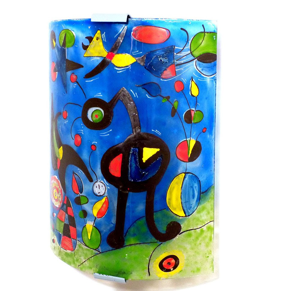 Applique murale bleu et multicolore le jardin de miro 1