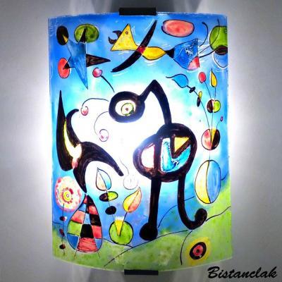 Applique d'ambiance fantaisie bleu et multicolore motif Le jardin de Miro