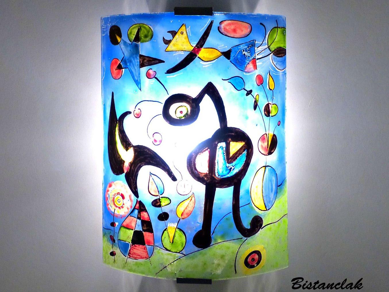 Applique fantaisie bleu et multicolore motif le jardin de miro; création artisanale française