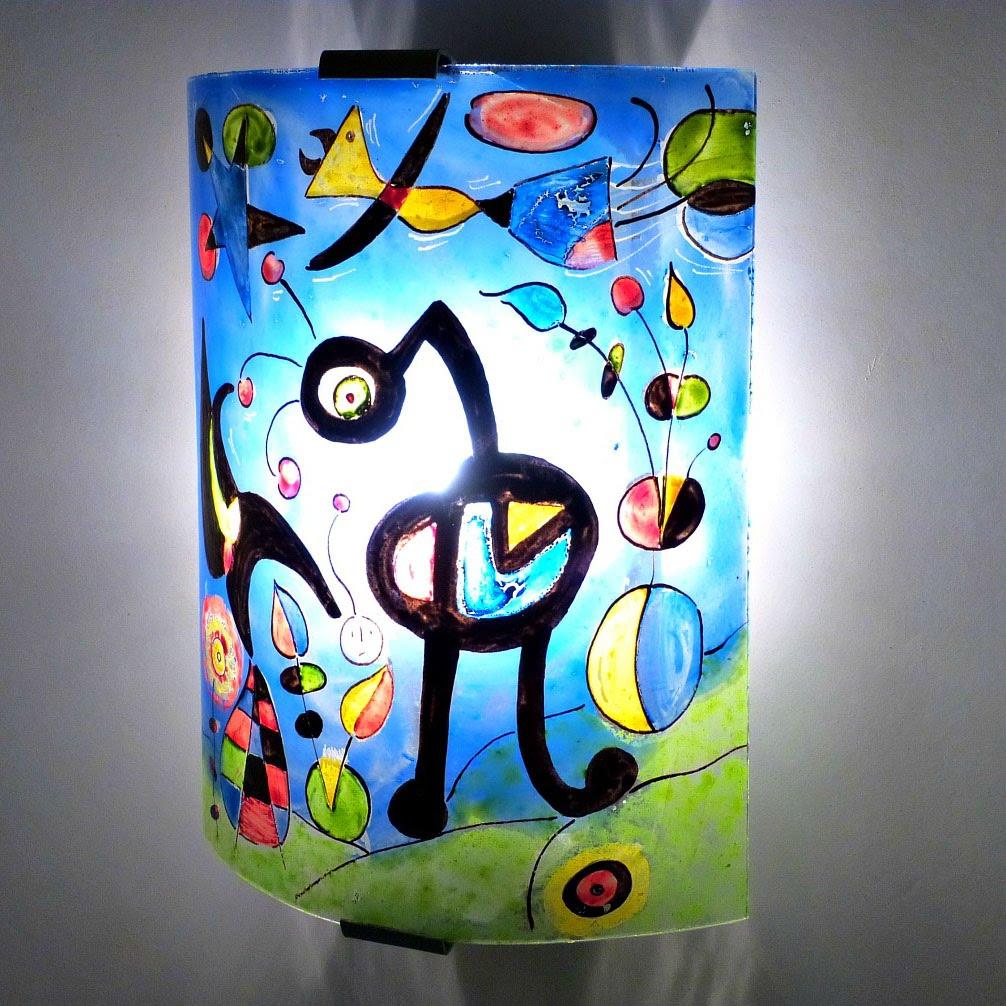 Applique murale bleu et multicolore le jardin de miro 5