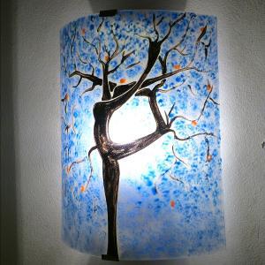 Applique murale bleu motif arbre danseuse 5