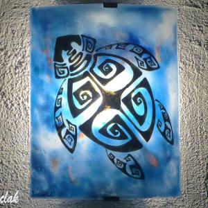 Applique murale bleu motif tortue ethnique creation artisanale par bistanclak