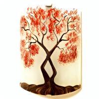 Applique murale decorative et eclairante blanche motif arbre de jane rouge 1