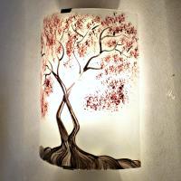 Applique murale decorative et eclairante blanche motif arbre de jane rouge 3