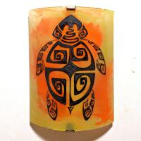 Applique murale artisanale jaune orange motif tortue